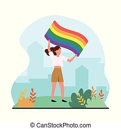 woman with rainbow flag to freedom parade