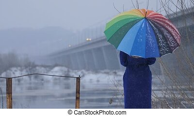 Woman with rainbow umbrella during snowfall