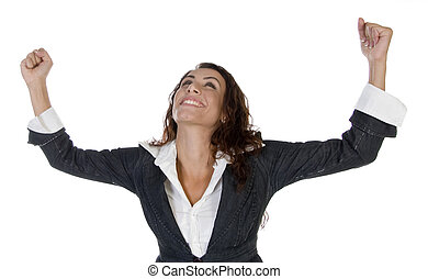 woman with raising hands on an isolated background