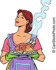 Woman with ready fried poultry chicken duck. Isolate on a white background