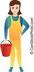 Woman with red bucket icon, cartoon style