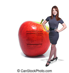 Woman with Red Delicious Apple with Nutrition Label