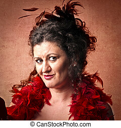 Woman with red feathers - Portrait of older woman