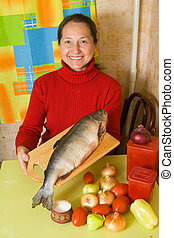 Woman with red fish