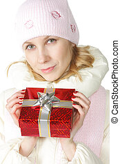 Woman with red giftbox