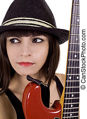 Woman with red guitar