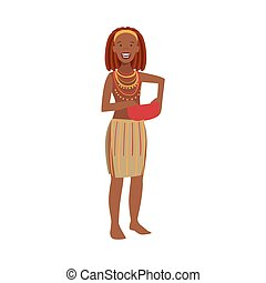 Woman With Red Hair From African Native Tribe