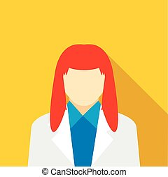 Woman with red hair icon, flat style