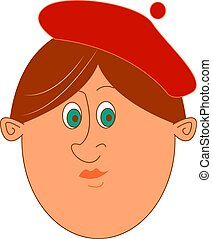 Woman with red hat, illustration, vector on white background