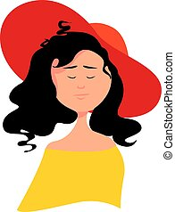 Woman with red hat, illustration, vector on white background.