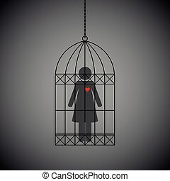 woman with red heart in a cage on dark background