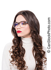 Woman with red lips in glasses