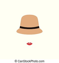 Woman with red lips  in retro hat.