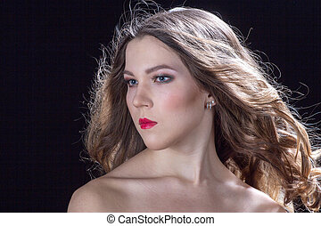 Woman with red lips portrait
