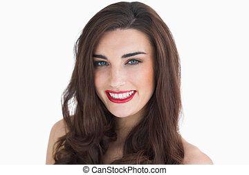 Woman with red lips smiling