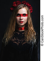 Woman with red make-up
