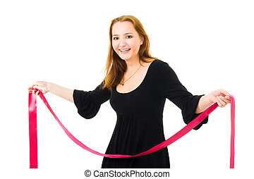 woman with red ribbon laughing