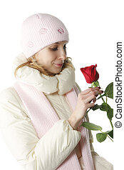 Woman with red rose sideview