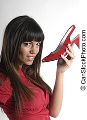 woman with red shoes