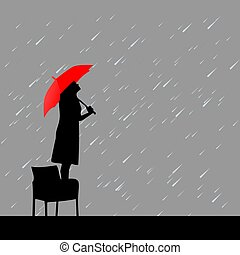 woman with red umbrella under rain