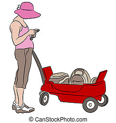 Woman with Red Wagon