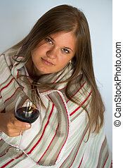 Woman with red wine glass
