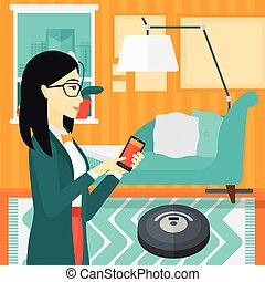 Woman with robot vacuum cleaner. - An asian woman...