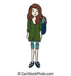 Woman with rucksack vector. Girl travel hand drawn. Female camping.
