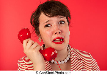 Woman with sad phone call - Woman crying while having a sad ...