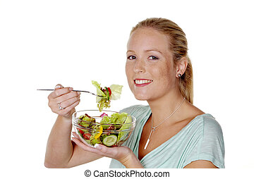 woman with salad