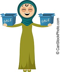 Woman with sale boxes, illustration, vector on white background.