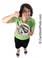 woman with sardine on white background