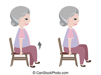 Woman with Seated March posture exercise, vector