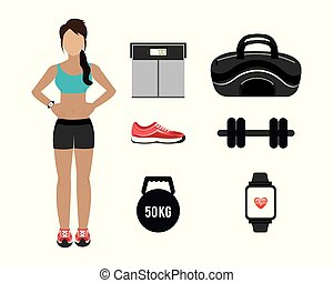 woman with set icons fitness