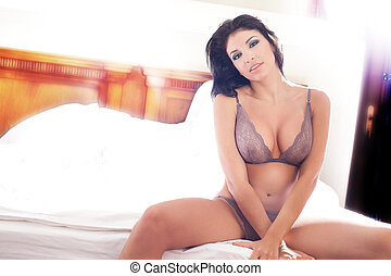 Woman with sexy hot body in lingerie