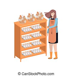 woman with shelf of egg isolated icon