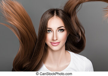 woman with shiny straight long hair. - Beautiful brunette ...