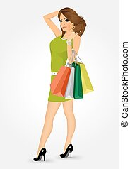 woman with shooping bags