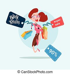 Woman With Shopping Bag Black Friday Big Sale Banner