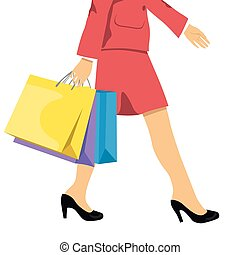 woman with shopping bags, lower half waist down illustration of legs in high heels and colorful shopping bags.