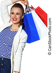 woman with shopping bags painted in color of the French flag