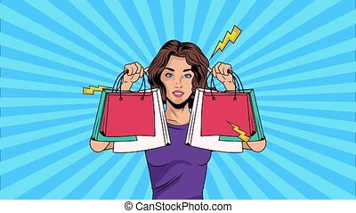 woman with shopping bags pop art style ,4k video animated