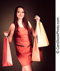 Woman with shopping bags.