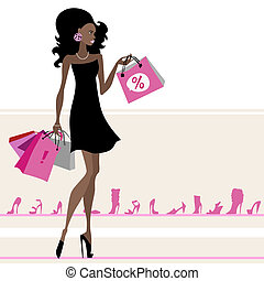 Woman with shopping bags. Vector illustration. Isolated