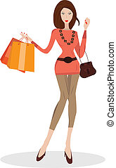 Woman with shopping bags - Vector illustration of young...