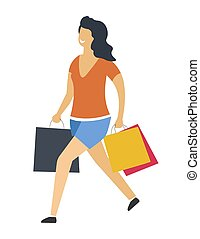 Woman with shopping bags vector isolated icon
