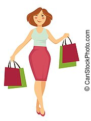 Woman with shopping bags walking and buying making purchases