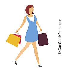 Woman with shopping bags walking in dress and stiletto shoes