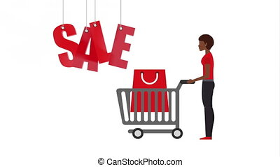 woman with shopping cart and bag , hd video animation