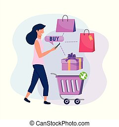 woman with shopping cart and smartphone ecommerce